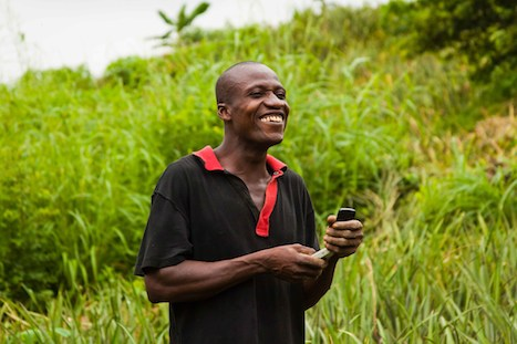 Ali Morrison at work on his pineapple farm in the Central Region of Ghana.
