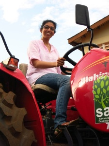 Vani on  her new tractor